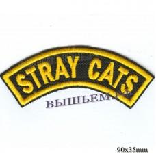 """Нашивка РОК атрибутика """"stray cats"""" желтая вышивка, черный фон, липучка или термоклей."""