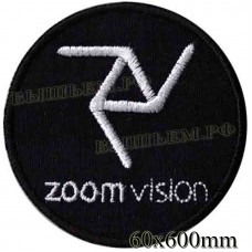 "Stripe ROCK paraphernalia ""Zoom VISION"" white embroidery, serger, black background, Velcro or glue."