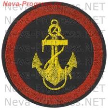 Нашивка Морская пехота. Желтый якорь. Красный кант застилом