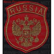 Нашивка Представительства ВС РФ за рубежом. Образца 1995 года. Метанить. Красное сукно