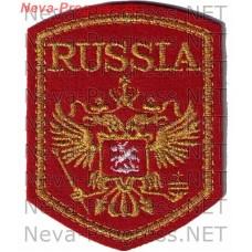 Нашивка RUSSIA с орлом пятиугольный метанить образца до 2012 года