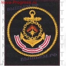 Нашивка Северного Флота с желтым кантом на черном сукне для повседневной формы