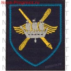 Нашивка 98-й отдельный смешанный авиационный полк 1-го командования ВВС и ПВО аэродром Мончегорск Мурманской обл.(темно-синий фон, голубой кант)