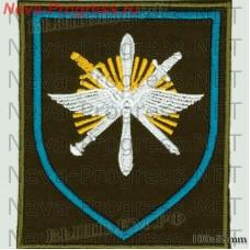 Нашивка 329-й Отдельной смешанной авиационной эскадрильи (329 ОСАЭ) в/ч 13641 «Снежная эскадрилья» аэродром Ключи Камчатская область  (оливковый фон, голубой кант)