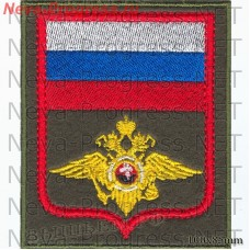 Stripe Regardie Russia ( the eagle of the internal troops) olive background, red edging)
